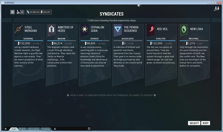 Syndicates Warframe Support