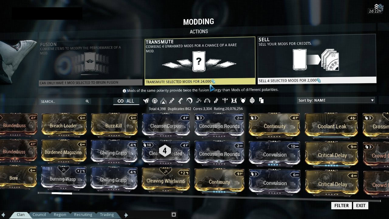 Mod Guide - Use / Fusion / Transmutation / Sale – WARFRAME
